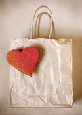 Heart Paper Bag — Stock Photo