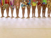 Gymnasts in a Row — Stock Photo