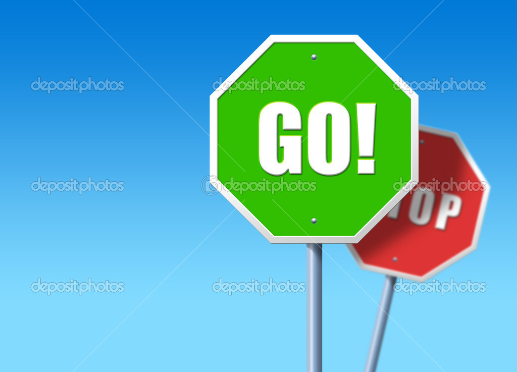 stop and go signs stock photo ccaetano 5873807. Black Bedroom Furniture Sets. Home Design Ideas