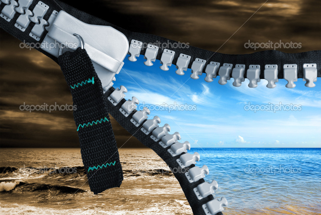 Bad weather turns good just by opening a zipper  Stock Photo #5873909