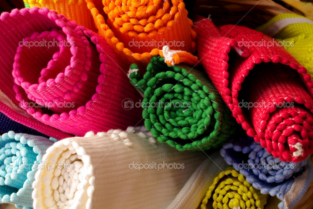 Background of colorful rugs in a crafts market — Stock Photo #5874101