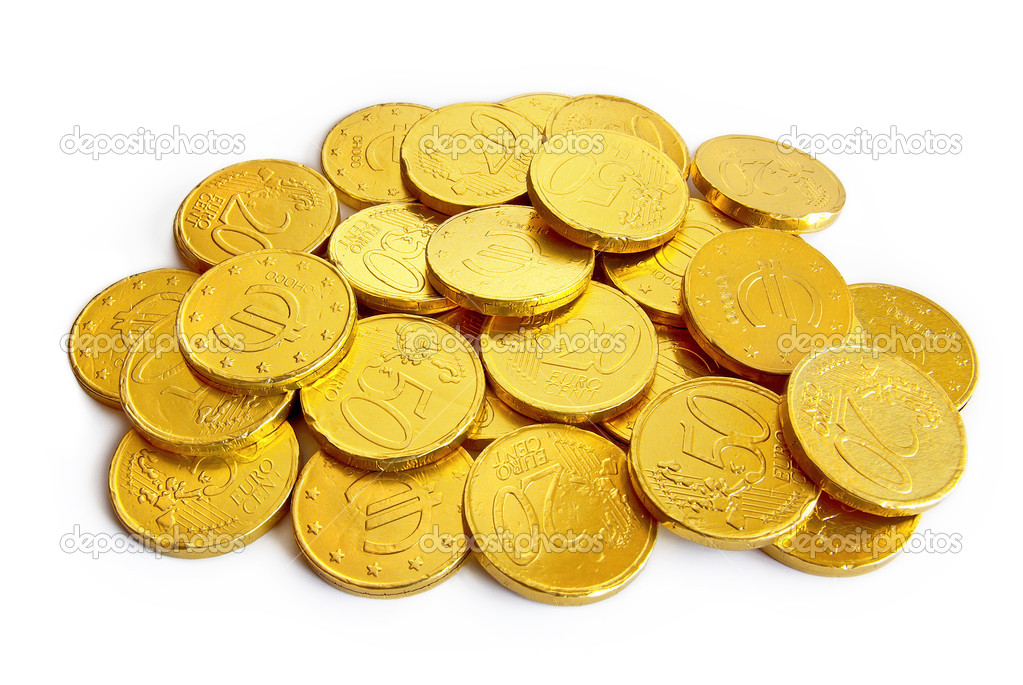 Pile of chocolate coins wrapped in shiny golden tinfoil — Stock Photo #5874210