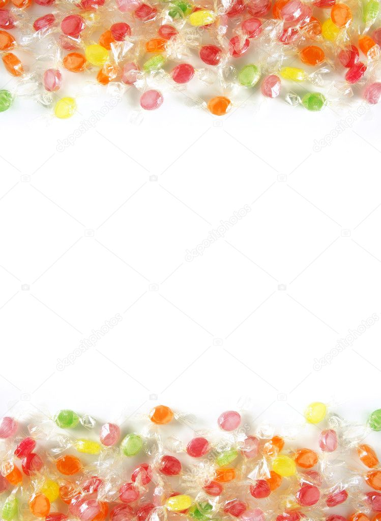 Two bands of assorted colorful candies in plastic wraps — Stock Photo #5874218