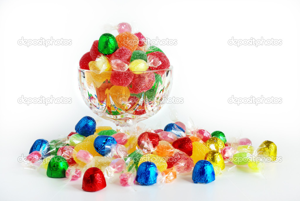 Assorted colorful bonbons and candies in plastic wraps — Stock Photo #5874228