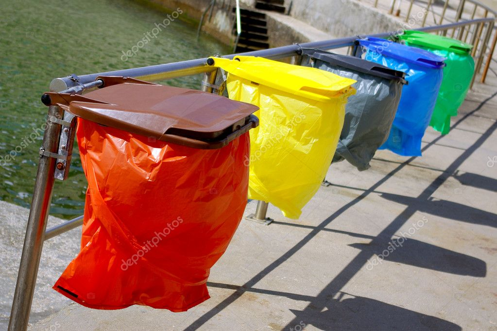 Clean colorful trash separation recycling bags  Stock Photo #5874339