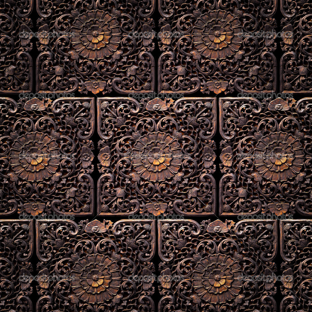 Pattern of tiles of a beautiful carved floral work — Stock Photo #5874354