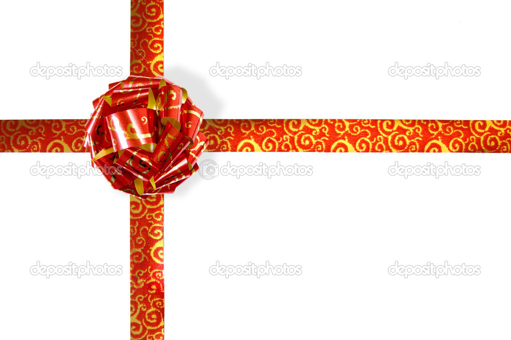 Big red an golden holiday bow isolated on white background — Stock Photo #5874600