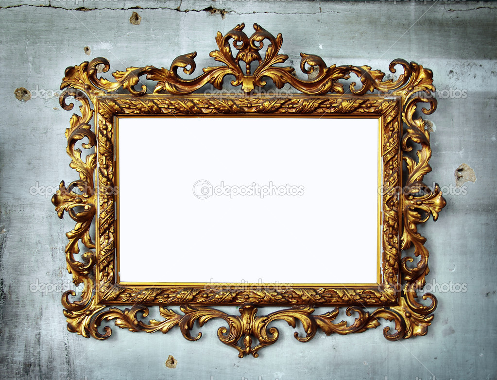 Beautiful golden baroque frame hanged in an old wall with holes and cracks — Stock Photo #5874747