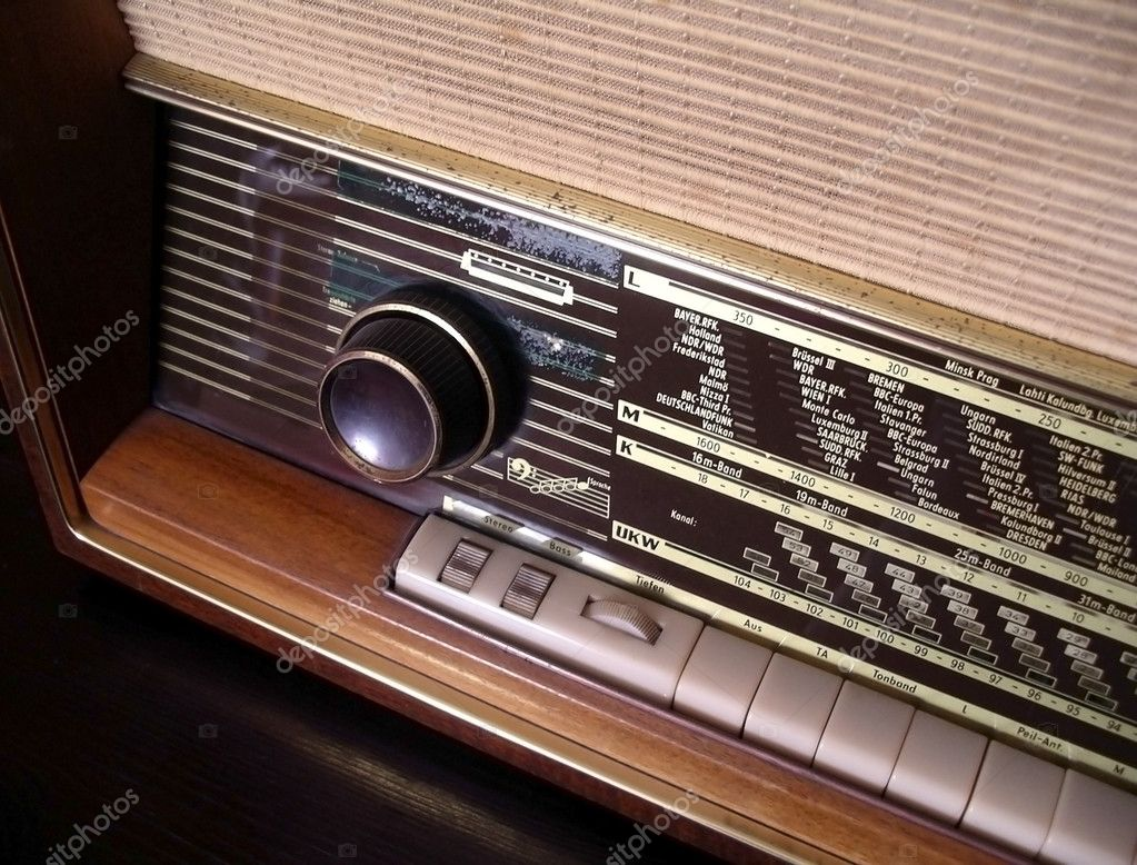 Detail of a vintage FM AM stereo radio receiver — Stock Photo #5874993
