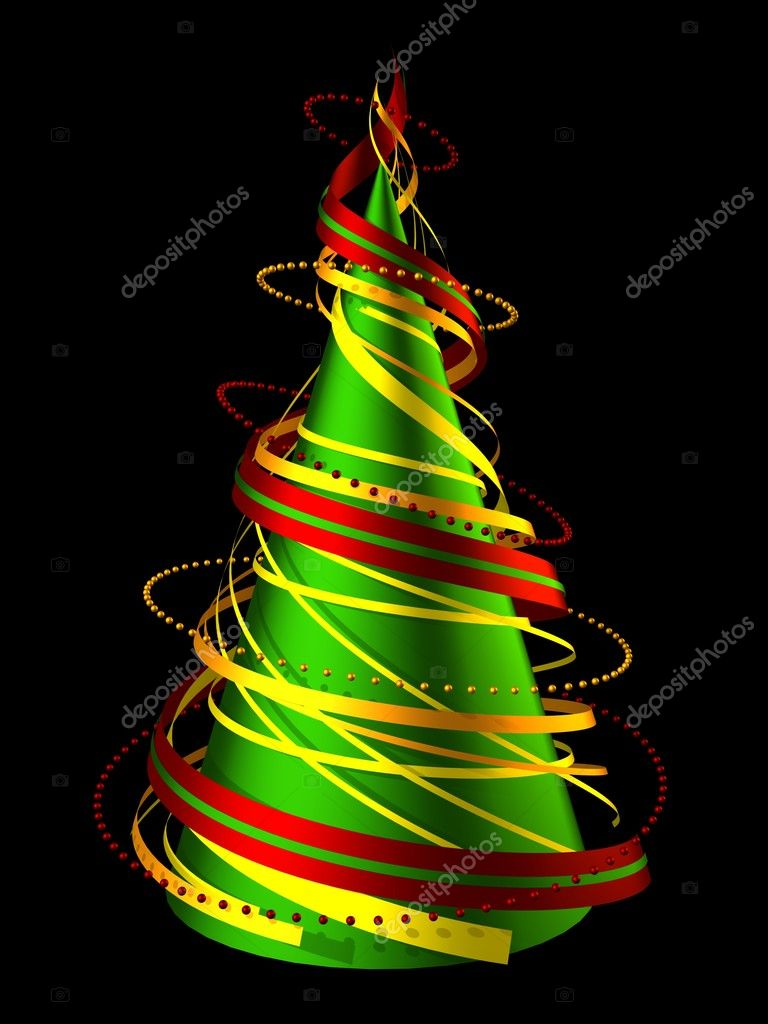 3D render abstract christmas tree made of swirling ribbons — Stock Photo #5875426