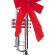 Christmas Trumpet with Bow Isolated — Stock Photo #5848360