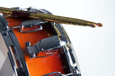 Red Fade Snare Drum On White — Stock Photo