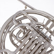 French horn Silver Isolated on White — Stock Photo