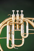 Antique French Horn on Green — Stock Photo