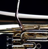 Zlatý tubu eufonyum izolované na černém pozadí — Stock fotografie
