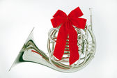 French Horn Christmas Ribbon Isolated — Stock Photo