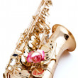 Stock Photo: Gold Saxophone with Pink Rose on White