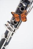 Klarinett med fjäril på vit — Stockfoto