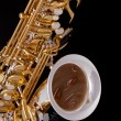 Saxophone On Black Background - Stock Photo