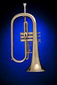 Trumpet Flugalhorn Isolated on Blue — Stock Photo