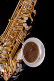 Saxophone On Black Background — Stock Photo