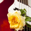 Stock Photo: Yellow Rose Red Electric Bass Guitar