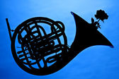 French Horn Silhouette On Blue — Stock Photo