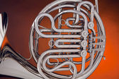 French Horn Silver On Gold — Stock Photo