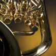 Tuba Euphonium Isolated on Yellow — Stock Photo