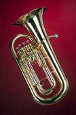 Tuba Bass Euphonium Isolated on Red — Stock Photo