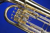 Tuba Euphonium Isolated on Blue — Stock Photo