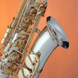 Alto Saxophone Isolated  On Orange — Stock Photo