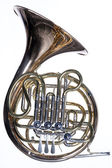 French Horn Isolated Against White — Stock Photo