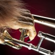Halloween Trombone Monster Hand — Stock Photo