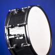 Black Snare Drum Isolated on Blue — Stock fotografie
