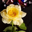 Stock Photo: Yellow Rose and Gem Stones