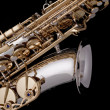 Stock Photo: Saxophone Silver Gold Isolated Black