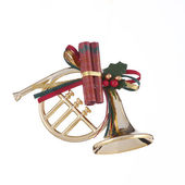 Gold Christmas Horn Ornament — Stock Photo