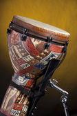 African Djembe Drum On Yellow — Stock Photo
