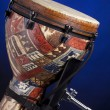 African Latin Djembe Drum Isolated on Blue — Stock Photo