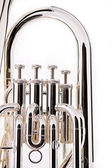 Silver Bass Tuba Euphonium on White — Stock Photo
