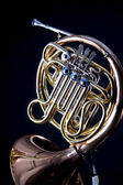 Gold Brass French Horn Isolated On black — Stock Photo