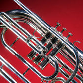 Marching French Horn Close — Stock Photo