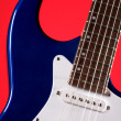 Guitar Blue Electric Isolated on Red — Stock Photo #6294728