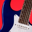 Guitar Blue Electric Isolated on Red — Stock Photo