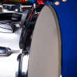 Snare Drum and Sticks Isolated on Blue — Stock Photo