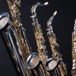 Saxophones Set of Four Isolated on black — Stock Photo #6325902