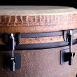 Stock Photo: Brown Djembe on Black Background