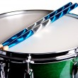 Green Snare Drum Isolated On White — Stock Photo