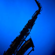 Saxophone in Blue Silhouette — Stock Photo #6401936